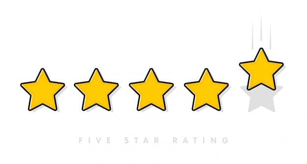 Pięć żółtej oceny gwiazdy wektorowa ilustracja w bielu