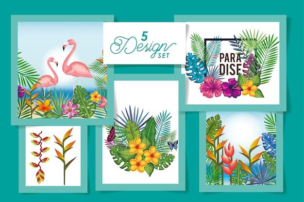Pięć zwierząt z kwiatami i liśćmi tropików