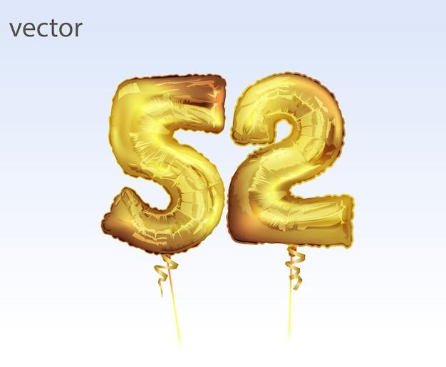 Pięćdziesiąt dwa złote balony foliowe. wektor realistyczne na białym tle złoty balon numer 52 do dekoracji zaproszenia na białym tle.