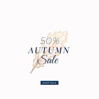 Pięćdziesiąt procent jesiennej sprzedaży. streszczenie retro etykiety, znak lub szablon karty.