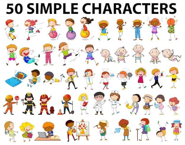 Pięćdziesiąt prostych postaci, młodych i starych