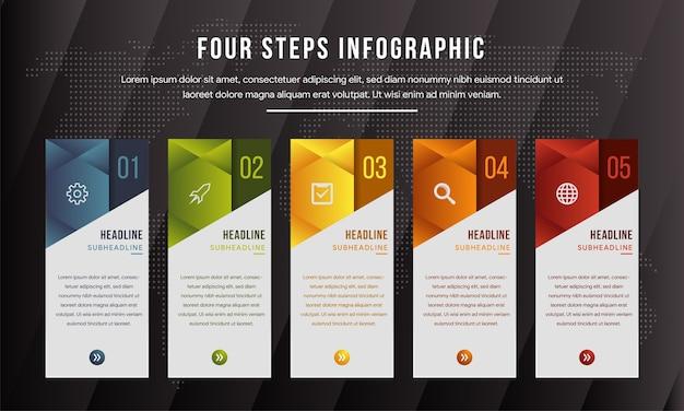Pięcioetapowa infografika wykorzystuje układ pionowego prostokąta.