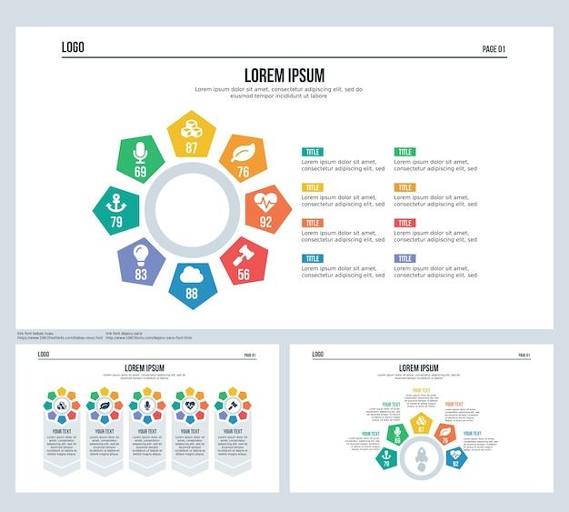 Pięciokątna rotacja plansza element zestawu slajdów prezentacji i szablon powerpoint