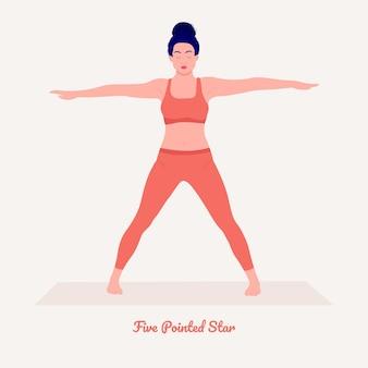 Pięcioramienna gwiazda pozycja jogi młoda kobieta ćwicząca ćwiczenia jogi