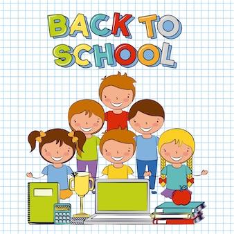 Pięcioro dzieci ze szkolnymi elementami wraca do ilustracji szkoły