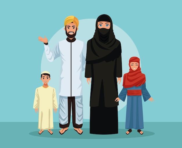 Pięciu muzułmańskich członków rodziny