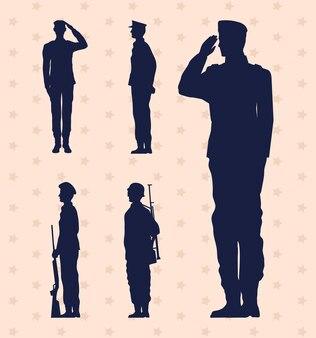 Pięciu żołnierzy wojskowych na białym tle ikony
