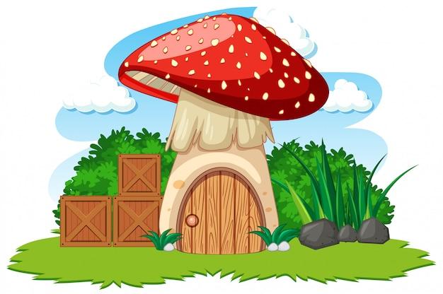 Pieczarkowy dom i niektóre trawy kreskówka projektujemy na białym tle