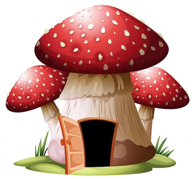 Pieczarkowy dom na whiyr tle