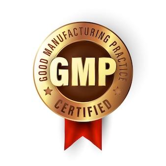 Pieczęć dobrej praktyki produkcyjnej. odznaka z certyfikatem gmp stworzona w luksusowym złotym stylu. naklejka na produkty najwyższej jakości.