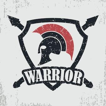 Pieczęć grunge spartan wojownik. nadruk na koszulkę z hełmem greckim lub rzymskim, projekt odzieży. ilustracja wektorowa.