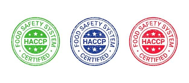 Pieczęć grunge systemu bezpieczeństwa żywności. odznaka z certyfikatem haccp. ilustracja wektorowa.