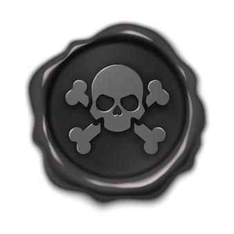 Pieczęć, ilustracja realistyczne 3d czarna etykieta, znak pirata, na białym tle