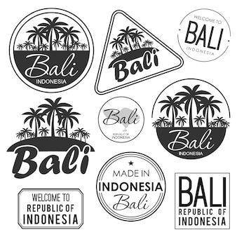 Pieczęć lub etykieta z nazwą wyspy bali, ilustracji wektorowych