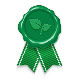 Pieczęć, naturalna i ekologiczna, zielona woskowa pieczęć ze wstążkami. 3d realistyczne ilustracja na białym tle.