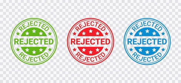 Pieczęć odrzucona. odznaka odmowa zezwolenia, etykieta. odrzuć okrągłe naklejki. nadruk z czerwoną pieczęcią. znak negatywnej decyzji