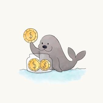 Pieczęć oszczędności monet w słoiku