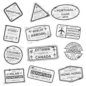 Pieczęć paszportu wizy międzynarodowej podróży służbowej.