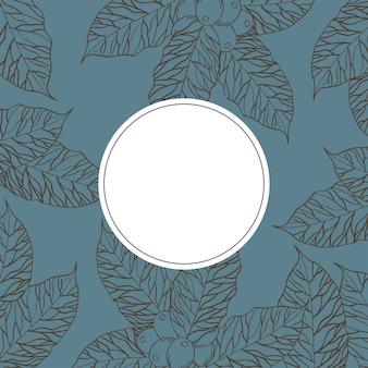 Pieczęć pieczęć na liściach kawy z motywem tła ziaren