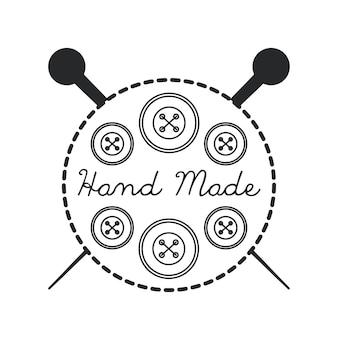 Pieczęć pieczęć ręcznie wykonane koncepcja z ikoną przycisku i igły