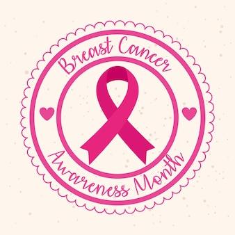Pieczęć pieczęć z różową wstążką, symbol miesiąca świadomości raka piersi na świecie