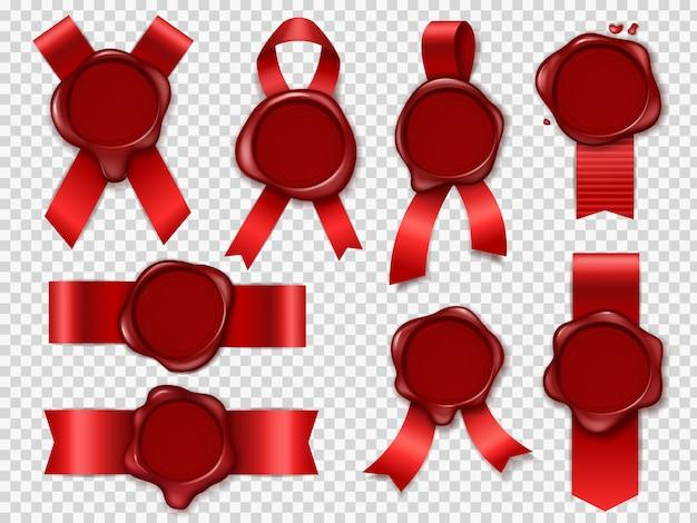 Pieczęć pieczęci świecy. czerwone wstążki z oryginalną woskowaną gumową kopertą na dokumenty uszczelniają królewskie znaczki pocztowe