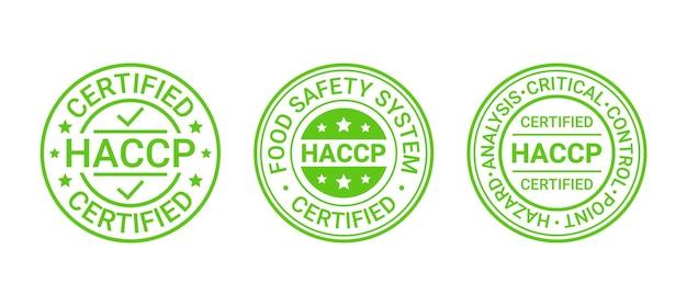 Pieczęć systemu bezpieczeństwa żywności. naklejka z certyfikatem haccp. ilustracja wektorowa.