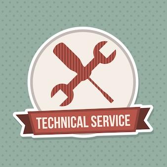 Pieczęć usługi techniczne na niebieskim tle przerywana