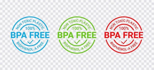 Pieczęć wolna od bpa. plakietka z nietoksycznego plastiku. brak emblematu okrągłej etykiety bisfenolu