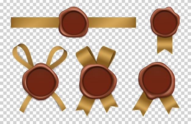 Pieczęć woskowa i złote wstążki. zapieczętowane brązowe, gumowe znaczki pocztowe z taśmami realistyczne obrazki 3d