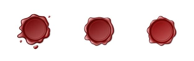 Pieczęć woskową pieczęć ikony ustaw na białym tle. realistyczny pusty czerwony wosk do pieczęci do etykiet znaczków i ochrony bezpieczeństwa dokumentów. ilustracja wektorowa