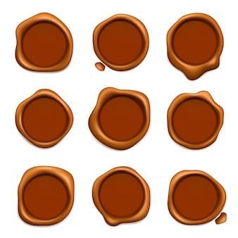 Pieczęć woskowa pocztowa. gwarancja lub poczta gumowe czerwone znaczki woskowe kolekcja realistyczny szablon