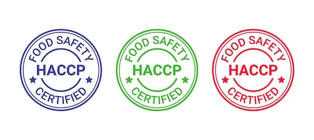 Pieczęć z certyfikatem haccp. okrągły emblemat analizy zagrożeń i krytycznych punktów kontroli. system bezpieczeństwa żywności