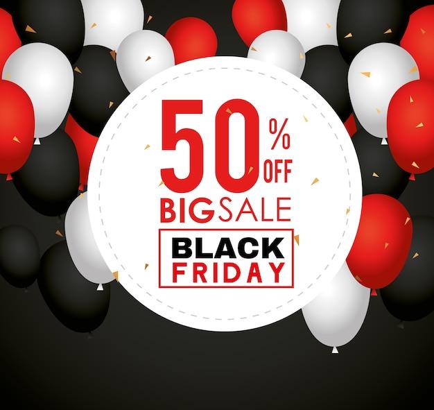 Pieczęć z czarnego piątku z projektem balonów, oferta sprzedaży, zapisywanie i zakupy