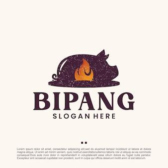Pieczeń wieprzowa, vintage, szablon projektu logo