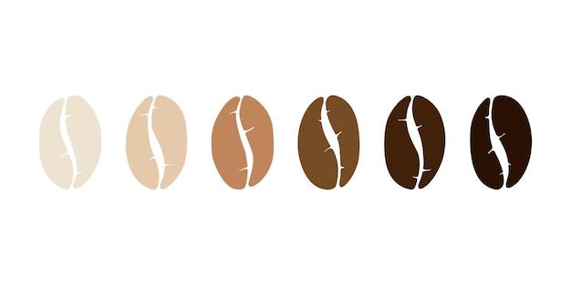 Pieczenie różnych etapów ziarna kawy zestaw jasnej średniej ciemnej pieczonej płaskiej ilustracji wektorowych