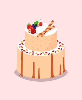 Pieczone ciasto ze słodkimi jagodami