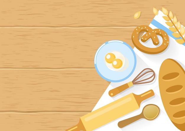 Pieczone produkty i skład narzędzi do gotowania