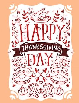 Pieczony indyk, warzywa, liście i tekst wesołego święta dziękczynienia na pomarańczowo