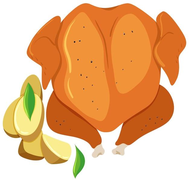 Pieczony kurczak i grillowane ziemniaki