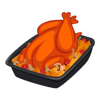 Pieczony kurczak z ziemniakami izolować na białym tle. grafika wektorowa.