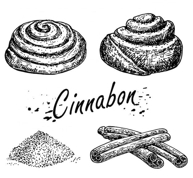 Pieczywo. szkic rolki cynamonu. bułka cinnabon. ręcznie rysowane szkic słodkiej bułki cynamonowej. bochen chleba. laski cynamonu.