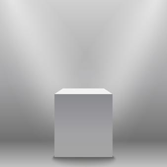 Piedestał, biel puste 3d podium i światło reflektorów wektoru ilustracja.
