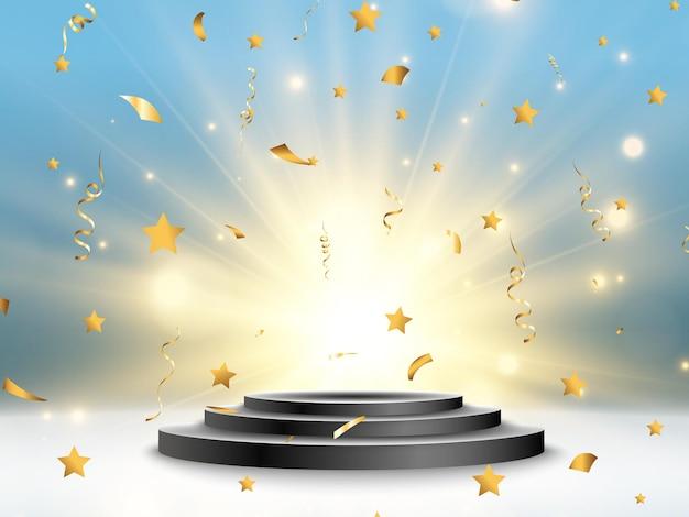 Piedestał za nagradzanie zwycięzców. białe podium lub platforma z reflektorami.