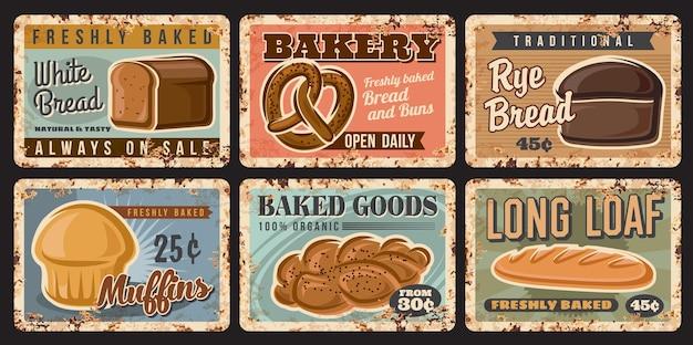Piekarnia chleba i ciasta z zardzewiałego metalu z pieczonymi bochenkami i słodyczami, plakaty vintage wektor. piekarnia sklepowa pieczone produkty spożywcze, długi bochenek pszenny lub pełnoziarnisty, ciasta muffinki i precle