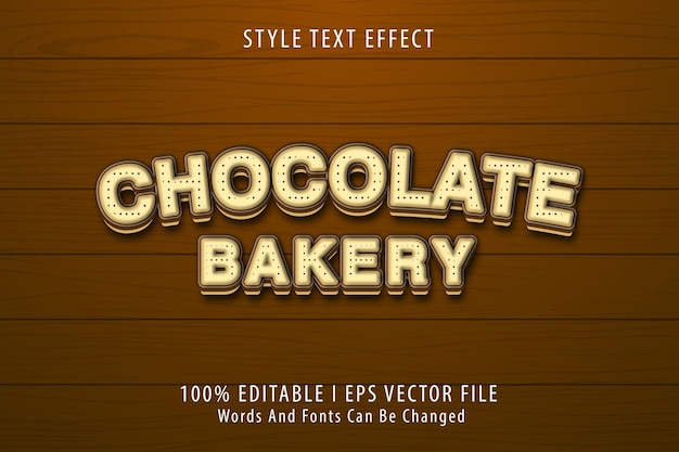 Piekarnia czekoladowa, edytowalny efekt tekstowy 3d