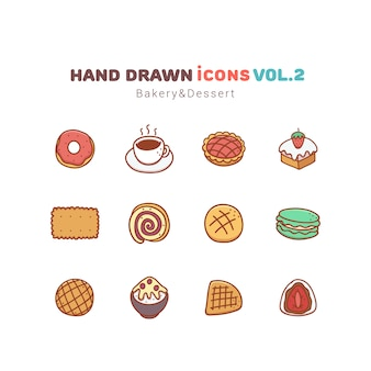 Piekarnia i deser ręcznie rysowane ikony