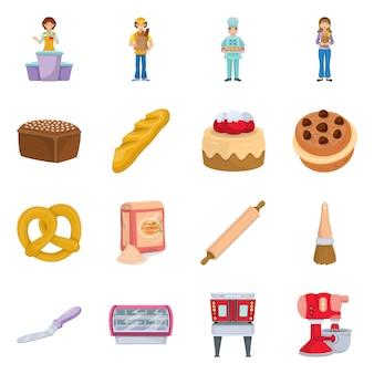 Piekarnia i piekarz elementy kreskówek. zestaw ilustracji chleba i mąki. zestaw elementów piekarni.