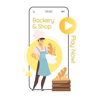 Piekarnia i sklep z kreskówkowym ekranem aplikacji na smartfona. piekarz z chlebem. piekarnia. wyświetlacze telefonów komórkowych z płaską konstrukcją znaków. ładny interfejs aplikacji telefonicznej