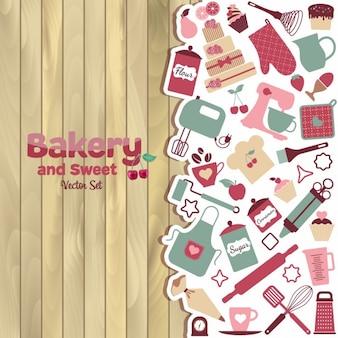 Piekarnia i słodkie streszczenie ilustracji na drewnie